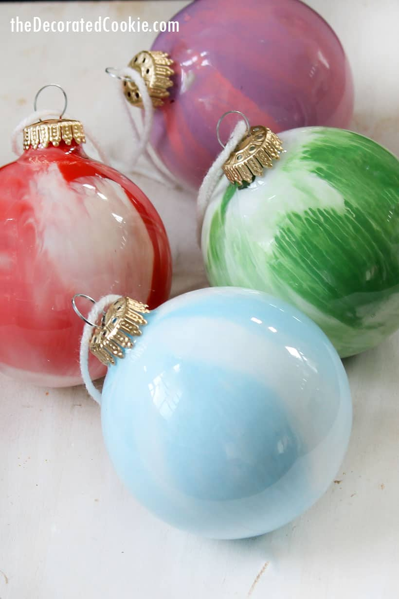 DIY paint swirl Christmas ornaments