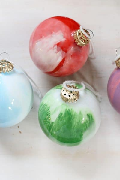 DIY paint swirl Christmas ornaments