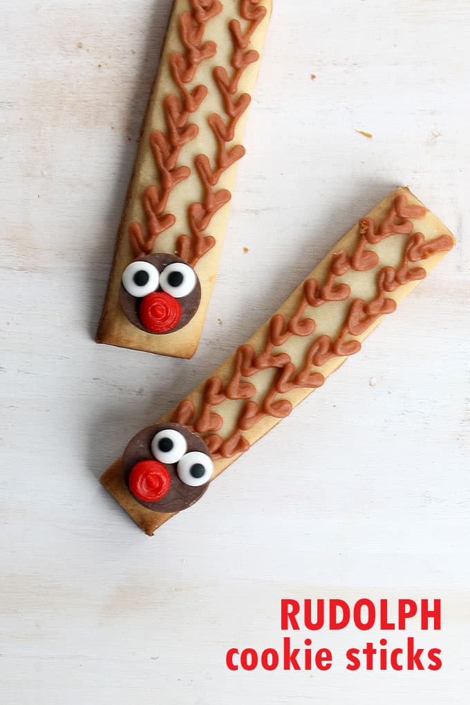 Rudolph cookie sticks are a simple, easy decorated Christmas cookie.