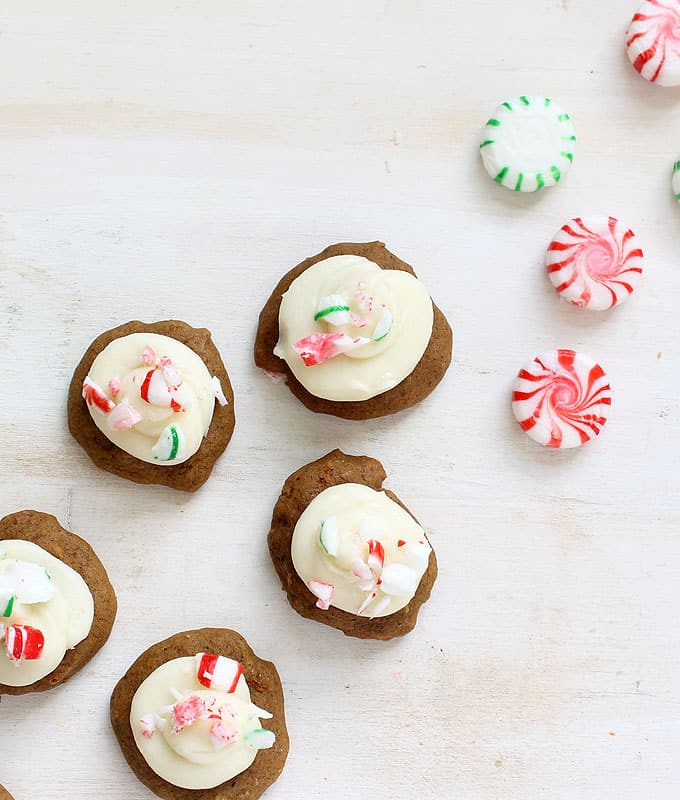Delicious softgingerbread cookies with peppermint cream cheese frosting for a Christmas treat.