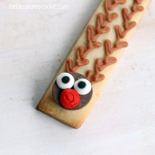 Rudolph cookie sticks for Christmas