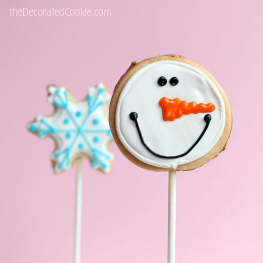 snowflake and snowman cookie pops