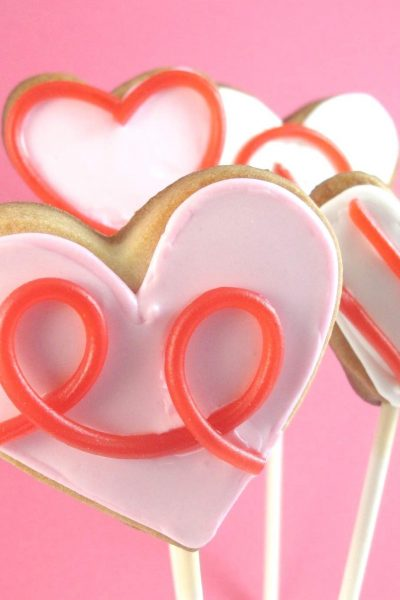 licorice heart cookie pops - the decorated cookie