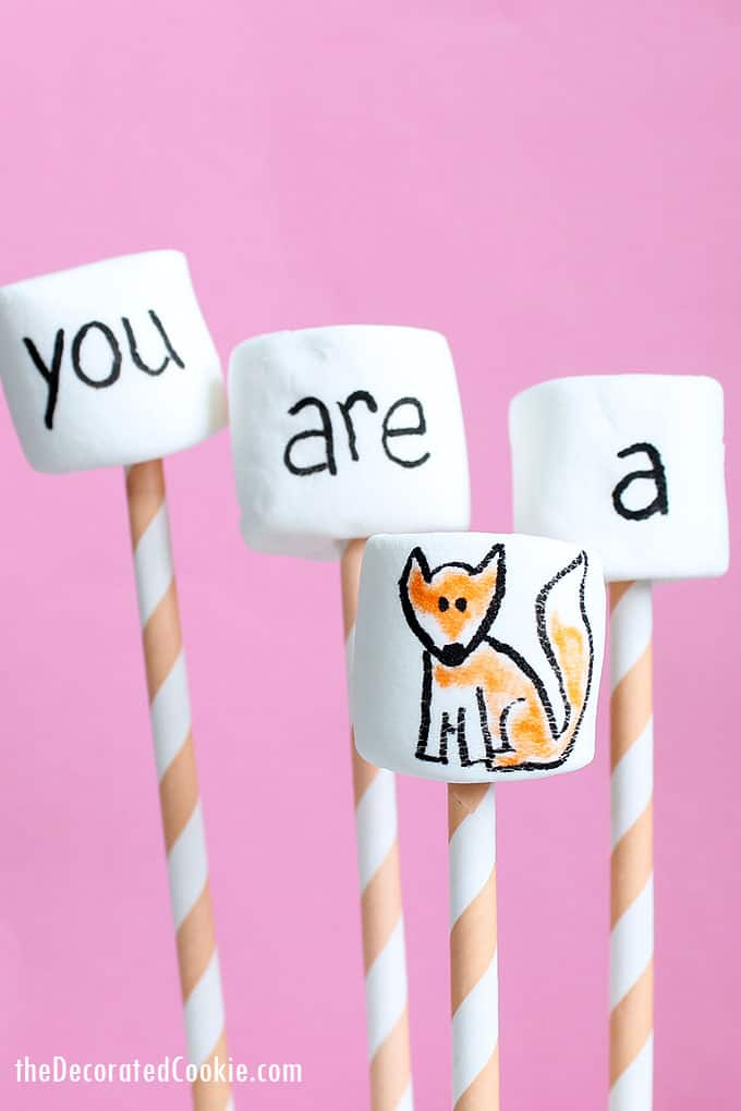 "Use marshmallows and food writers to make simple ""You are a fox"" Valentine's Day marshmallows. And, how to draw a fox. A fun treat. #valentinesday #marshmallows"
