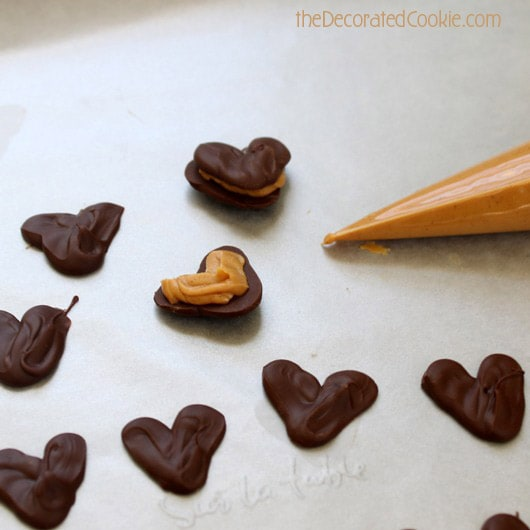 chocolate peanut butter heart sandwiches for Valentine's Day
