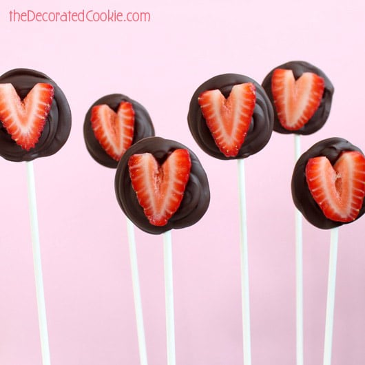 chocolate-covered strawberries on a stick for Valentine's Day