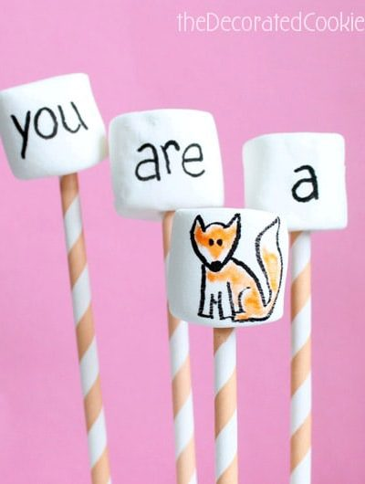 """You are a fox"" marshmallow pops for Valentine's Day"