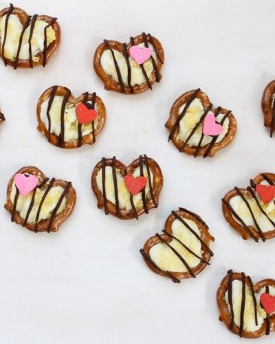 chocolate pretzel hearts for Kix