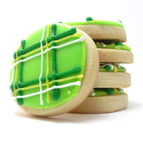 st patrick's day plaid cookies