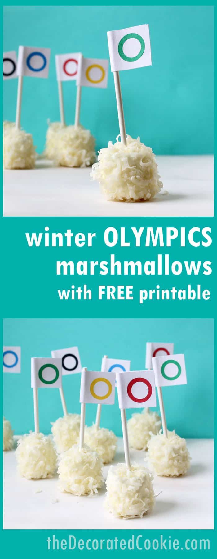 "winter Olympics ""snowball"" marshmallows with free printables -- Olympics party food ideas"