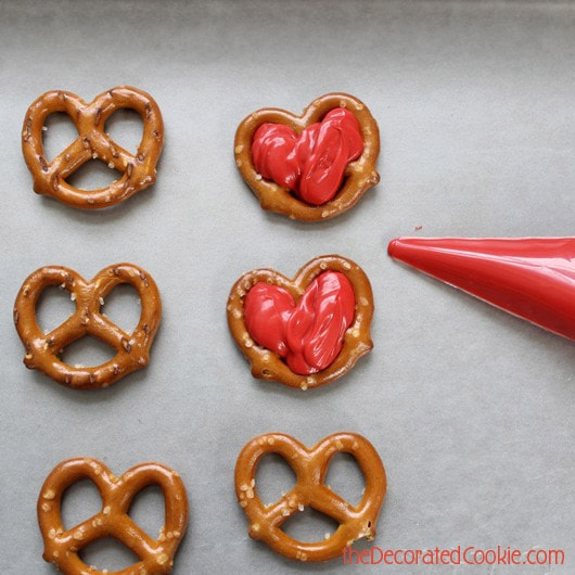 chocolate pretzel heart pops for Valentine's Day