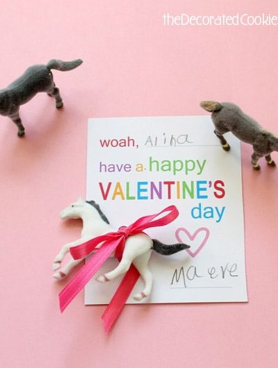 Valentine's Day horse cards free printable
