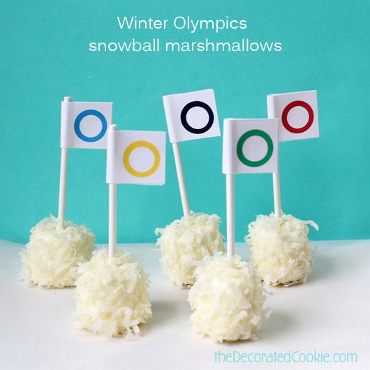"""snowball"" marshmallow pops with FREE Olympics printable"