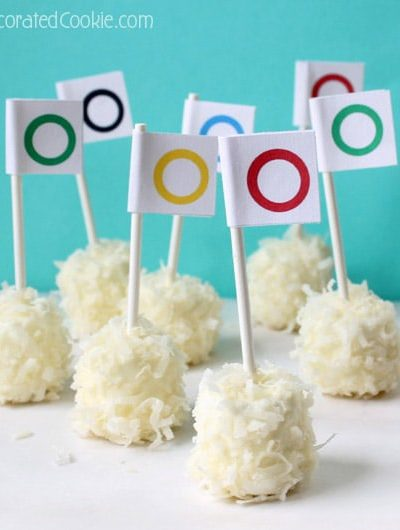 winter Olympics snowball marshmallows with free printable