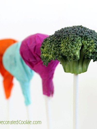 """April Fools lollipops (April Fools broccoli """"lollipops"""") for kids"""