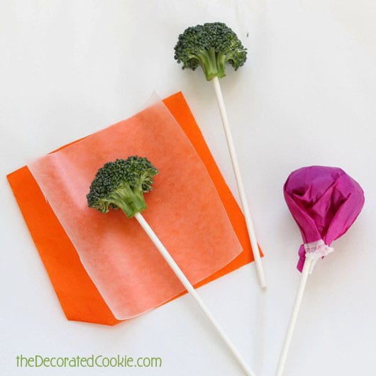 "April Fools lollipops (April Fools broccoli ""lollipops"") for kids"