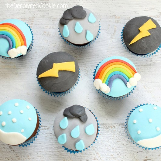 how to make weather cupcakes