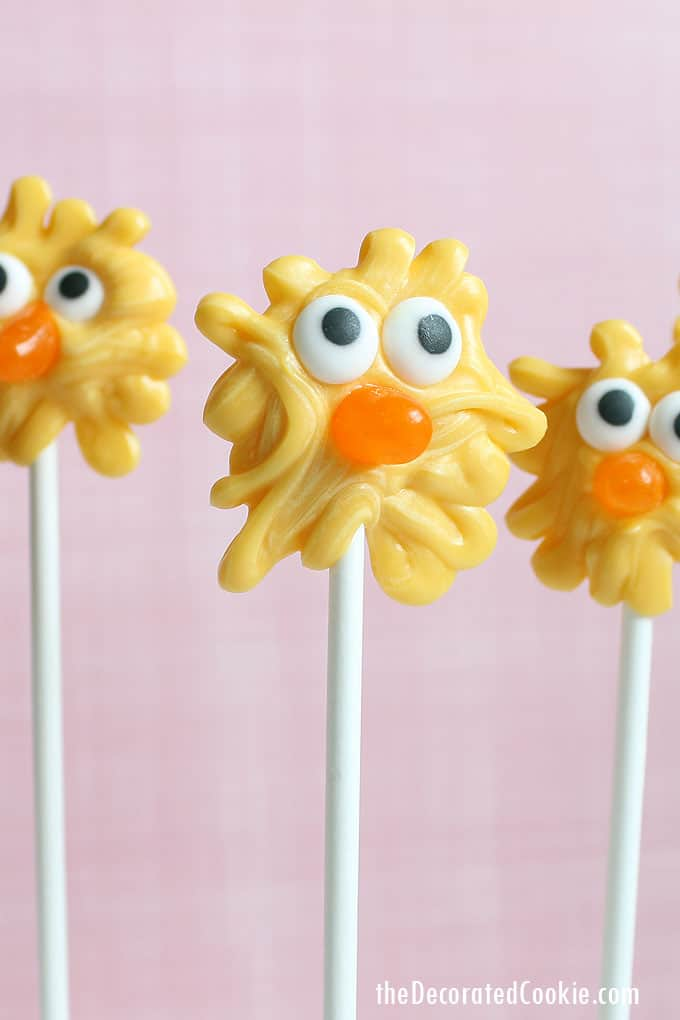 How to make CHICK CANDY POPS for an Easter treat with candy candy melts, store-bought candy, and lollipop sticks. Kid-friendly fun Easter food.