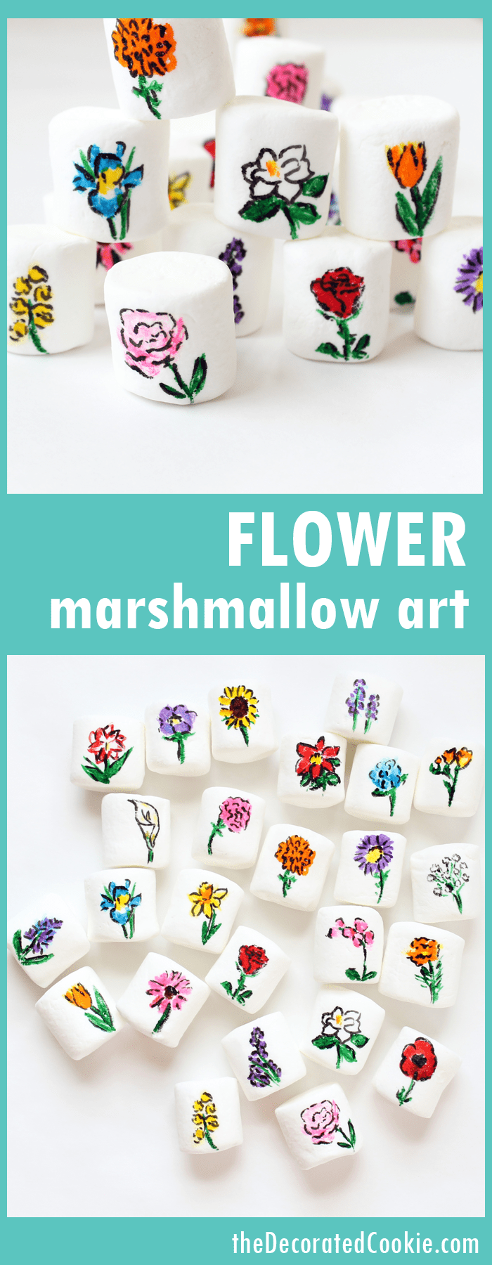 flower marshmallow art using food writers -- spring dessert