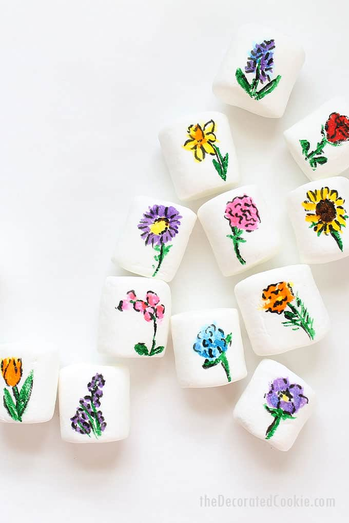 25 types of flowers drawn on marshmallows with edible writers, for Earth Day, Mother's Day or Spring treats -- flower marshmallows