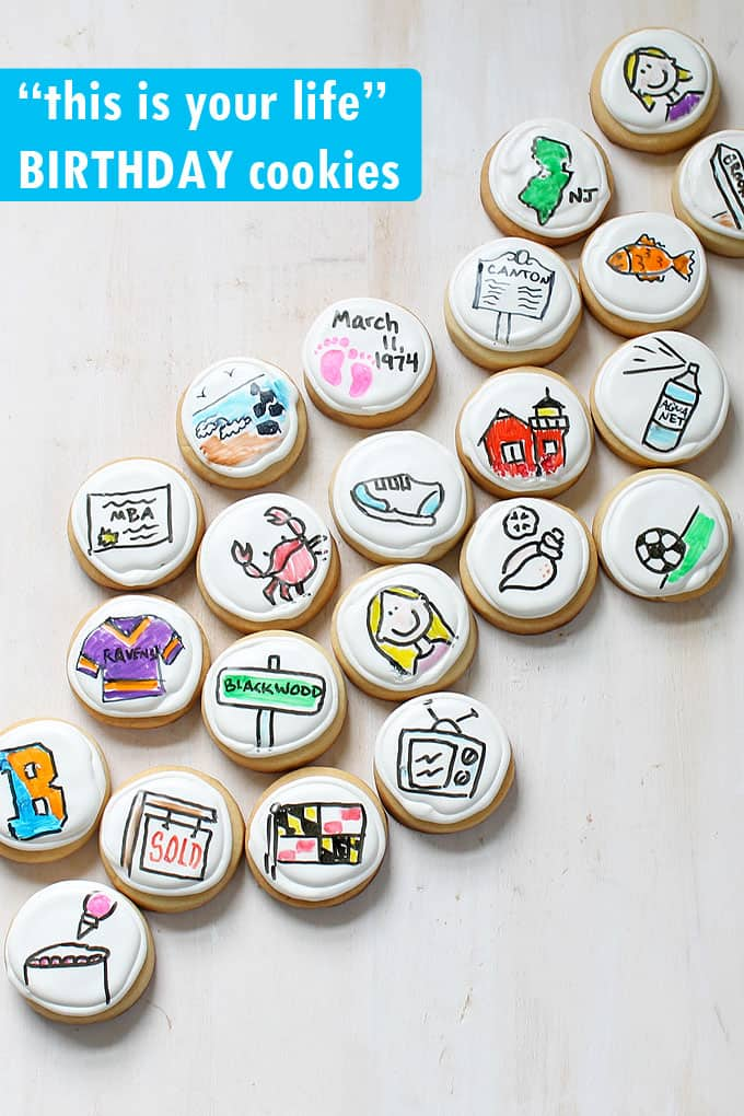 MILESTONE BIRTHDAY COOKIES -- Use food coloring pens on royal icing to make personalized decorated cookies for a birthday gift idea.