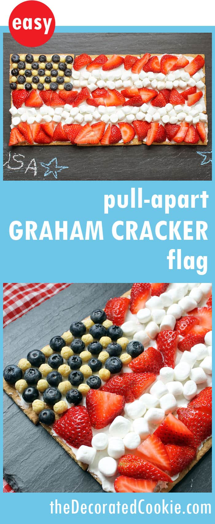 easy, no-bake, pull-apart graham cracker flag dessert -- Memorial Day dessert, 4th of July dessert