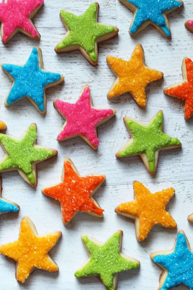 STAR COOKIES: Easy, sprinkle rainbow star cookies for teacher appreciation or for a super star birthday treat idea.