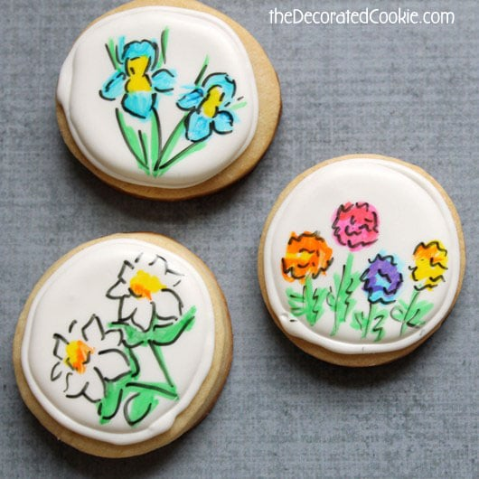 hand-drawn flower cookies for Mother's Day