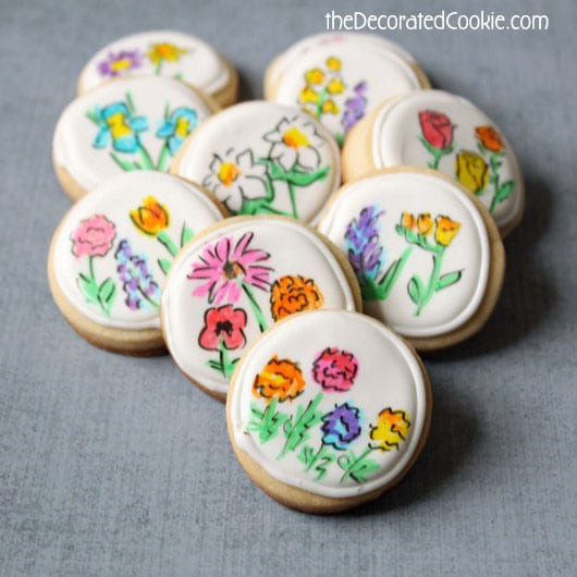 mother's day flower cookies