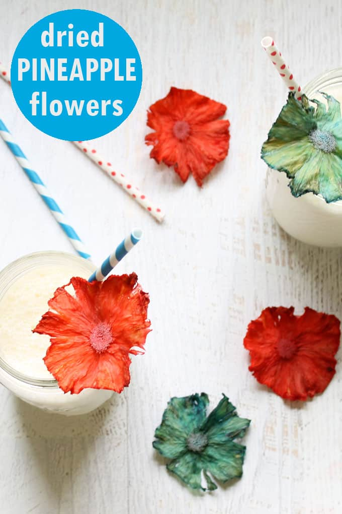 4th of July dessert idea: Add red and blue dried pineapple flowers to any treat.
