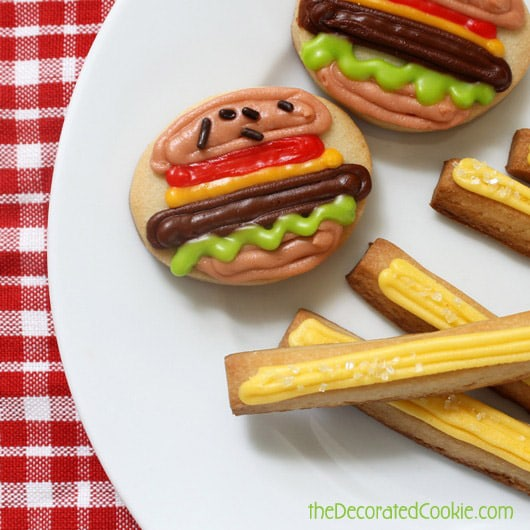 burger and fries cookies by the decorated cookie