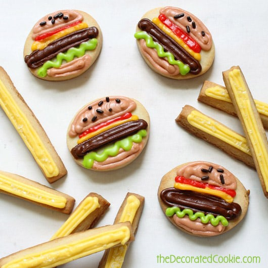 burger and fries cookies