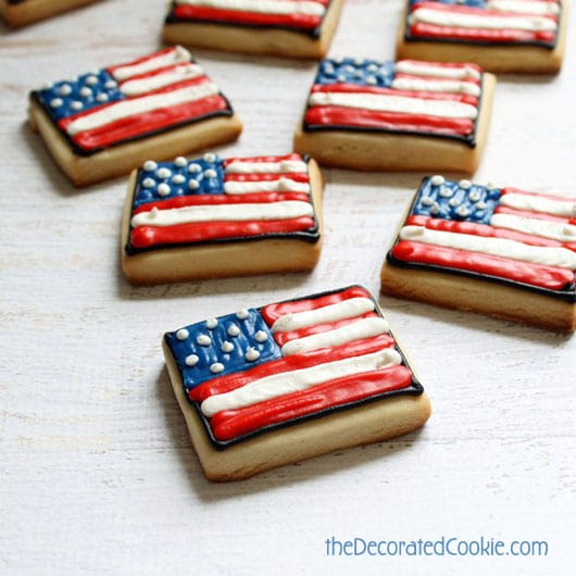 American flag cookies by the decorated cookie.