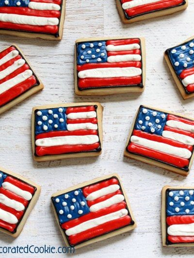 how to make American flag cookies - 4th of July or Memorial Day