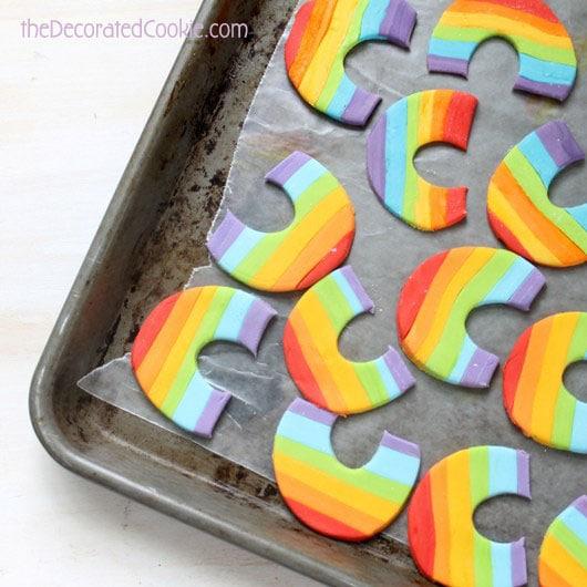 rainbow fondant cupcake topper