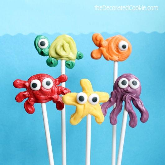 sea animal candy pops