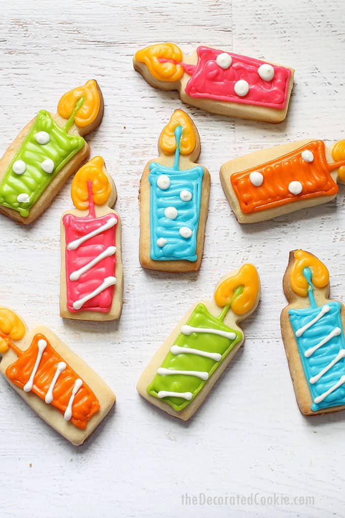 how to make birthday candle cookies: A simple decorated cookie for any birthday celebration. #birthdaycookies #cookiedecorating #birthdaycandles