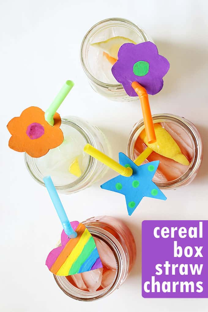 CEREAL BOX STRAW CHARMS --Cereal box crafts for any party. Kids can make these colorful straw charms for party drinks in any shape.