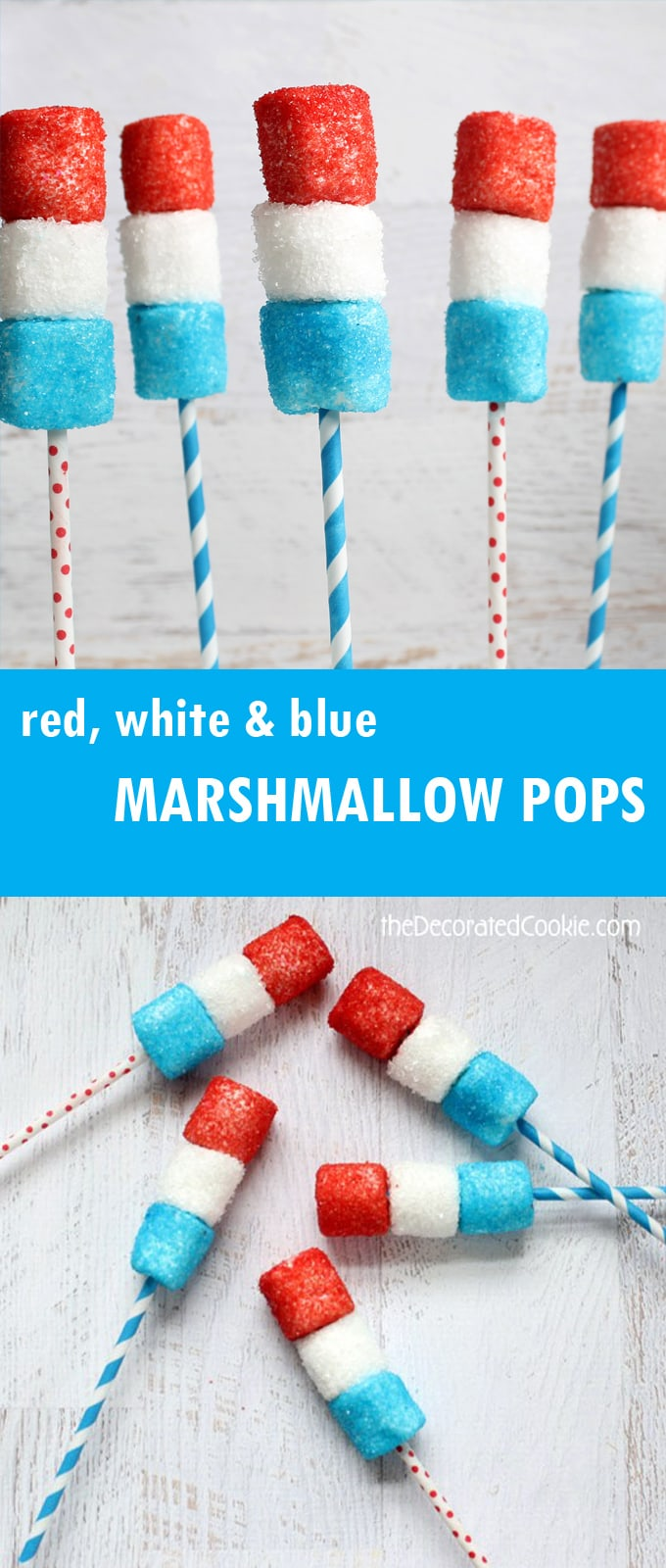 red, white and blue marshmallow pops for the 4th of July
