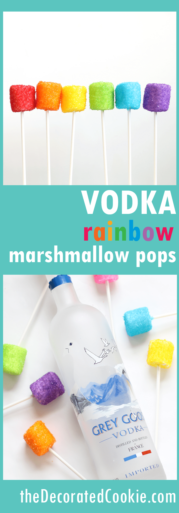 vodka dipped rainbow marshmallow pops