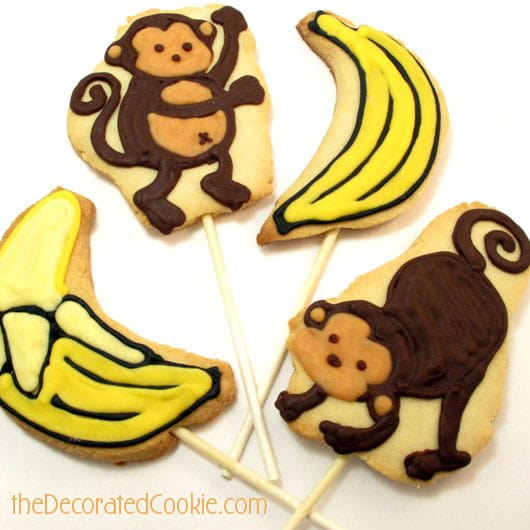 Monkey and Banana Decorated Cookies