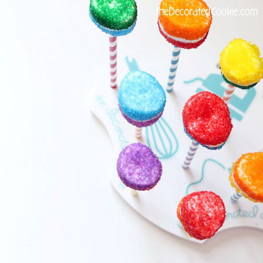 rainbow striped marshmallow pops