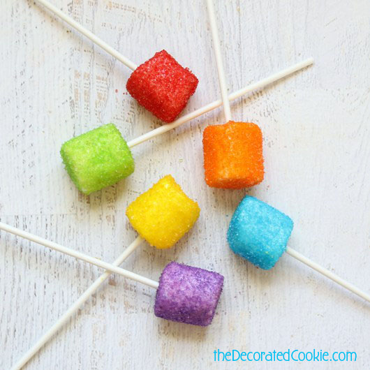 vodka marshmallow pops -- drunken rainbow marshmallow pops