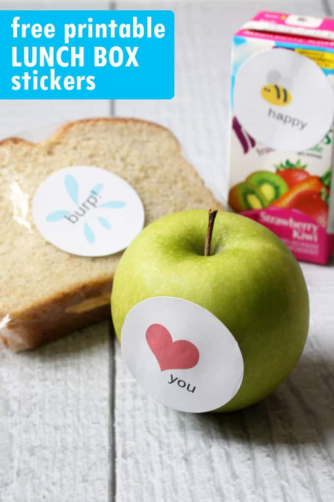 LUNCH BOX STICKERS! Surprise the kids when they go back to school with these free printables for lunch box stickers.