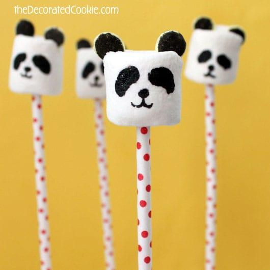 panda marshmallow pops