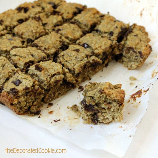 healthy banana oatmeal chocolate chip bar cookies