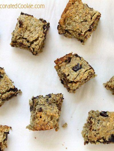 healthy banana oatmeal chocolate chip bar cookies