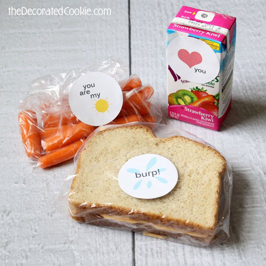 back to school lunch box stickers with free printable