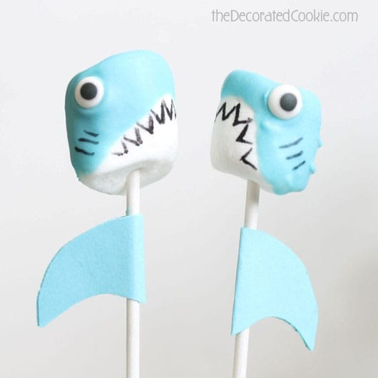 shark marshmallow pops