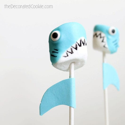 shark marshmallow pops for shark week
